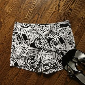 Pants - Black and white paisley women's shorts